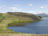 Rootless Crater, Skutustadir, South End of Lake Myvatn, Iceland, Polar Regions Photographic Print by Tony Waltham