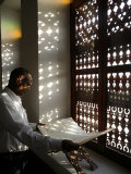 Man Reading the Koran in a Doha Mosque, Doha, Qatar, Middle East Photographic Print by  Godong