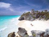 Mayan Ruins Overlooking the Caribbean Sea and Beach at Tulum, Yucatan Peninsula, Mexico Photographic Print by Sakis Papadopoulos