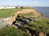 Coast Erosion with Active Landslips, Glacial Till, Aldbrough, Holderness Coast, Humberside, England Photographic Print by Tony Waltham