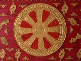 Dharma Wheel at Wat Si Muang, Vientiane, Laos, Indochina, Southeast Asia, Asia Photographic Print by  Godong
