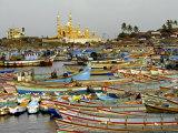 Fishing Boats in Harbour, Coastal Area of Vizhinjam, Trivandrum, Kerala, India Photographic Print by Balan Madhavan