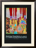Imagine Tomorrows World (orange) Poster by Friedensreich Hundertwasser