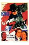 The Mark of Zorro, Spanish Movie Poster, 1940 Láminas