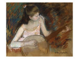 Mary Cassatt - Girl with a Banjo - Giclee Baskı