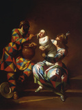 Harlequin as a Father Giclee Print by Giovanni Domenico Ferretti