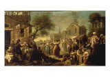 A Market Scene in a Town with Mounted Oriental Travellers and Girls Dancing, 1748 Print by Etienne Jeaurat