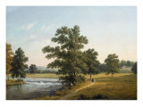 Landscape with Figures walking in a Park Giclee Print by John Knox