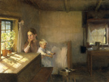 A Woman and Child in a Sunlit Interior, 1889 Print by Albert Edelfelt
