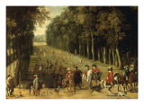 Louis XIII with a Hunting Party in the Forest at Marly Giclee Print by Sebastian Vrancx