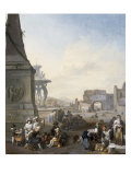 Rome, the Plazza de Popolo with a Shoemaker and other Figures Print by Johannes Lingelbach