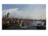 View of the Thames looking towards London Bridge with the Royal Barge Posters by William James