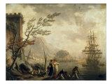 A Mediterranean Harbour Scene at Sunset Posters by Charles-francois Grenier De La Croix