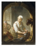 A Kitchen Maid seen through a Window Cleaning Pots Giclee Print by Louis De Moni