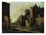 A Village Street with Card Players, 1650 Prints by Joost Cornelisz Droochsloot