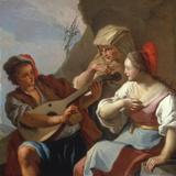 A Man Playing the Lute Poster by Pietro Bardellino