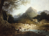 Mounted Horsemen and Bearers Crossing a Stream, India Giclee Print by Charles D'oyly