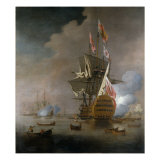 A Royal Party approaching a Flagship of the Red with Numerous Other Craft at Sea Print by Peter Monamy