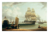 H.M.S. Victory and H.M.S. Prince in Portsmouth Harbour Giclee Print by William Anderson