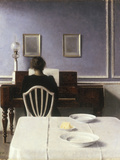 Interior with a Girl at the Clavier, 1901 Art by Vilhelm Hammershoi