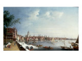 View of the Thames looking towards St Paul's Cathedral from the Gardens of Somerset House Giclee Print by William James