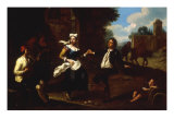Landscape with Peasants dancing to a Mandolin Plakater af Giuseppe Maria Crespi