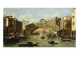 Venice, the Rialto Bridge Giclee Print by Giacomo Guardi