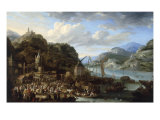 A Mountainous River Landscape with a Crowded Market Scene, 1661 Poster by Jan Peeters