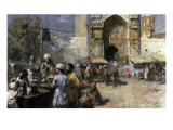 Market Scene by a Mosque Giclee Print by Edwin Lord Weeks