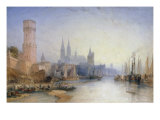 The Rhine at Cologne, 1891 Poster by William Callow