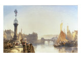 A Continental Town by a River, 1875 Prints by William Callow