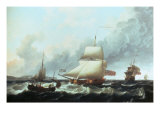 A Ketch-Rigged Royal Yacht in a Fresh Breeze off Dover, 1754 Giclee Print by Charles Brooking
