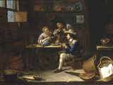 Kitchen Interior with Peasants Smoking and Drinking around a Table, 1655 Giclee Print by Gillis van Tilborgh
