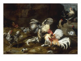 A Cockfight with other Poultry in a Farmyard Art by Frans Snyders