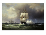 Square Riggers on the Open Sea Giclee Print by Wilhelm Melbye