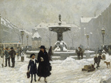 A Winter Day in Gammeltorv, Copenhagen, 1917 Giclee Print by Paul Gustav Fischer