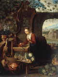 A Young Woman Drawing Water from a Well Giclee Print by Gerrit Dou