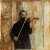 A Portrait of Achille Lerminiaux Playing the Violin, 1885 Print by Fernand Khnopff