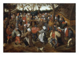 A Wedding Feast with Peasants Dancing Giclee Print by Pieter Bruegel the Elder