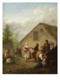 A Village Scene with Peasants Dancing Giclee Print by Nicolas Louis Albert Delerive