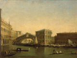 A View of the Rialto Bridge with the Palazzo dei Camerlenghi to the Right Giclee Print by Giuseppe Bernardino Bison