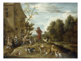 Huntsmen and Hounds in a Landscape Giclee Print by Lambert De Hondt