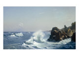 Waves Breaking on a Rocky Coast, 1881 Giclee Print by Johannes Herman Brandt