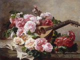 Still Life with Roses and Mandolin Schilderijen van Georges Jeannin