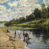 Washing at the River Bank, 1922 Giclée-tryk af Vladimir Egorovic Makovsky