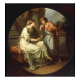 Papirius Praetextatus entreated by his Mother to disclose the Secrets of the Senate Lámina giclée por Angelica Kauffmann