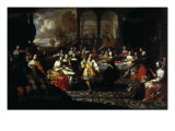 Elegant Company Banqueting in a Palace Courtyard, a Landscape beyond Giclee Print by Hieronymus Janssens