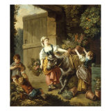 A Flower Seller setting off for Market Giclee Print by Jean-Baptiste Huet