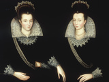 Portrait of Two Sisters, Probably Anne of Denmark with her Sister Elizabeth Gicléetryck av Robert Peake