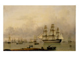 H.M.S. Queen Sailing out of Portsmouth Harbour Giclee Print by John Of Hull Ward